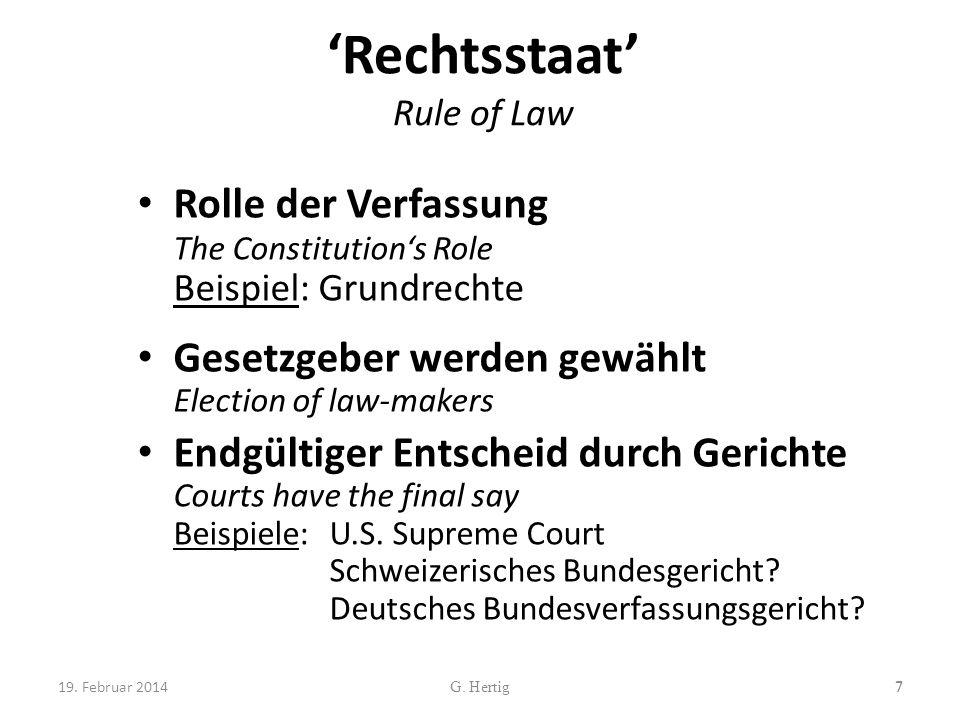 Rechtsstaat Rule of Law Rolle der Verfassung The Constitutions Role Beispiel: Grundrechte Gesetzgeber werden gewählt Election of law-makers Endgültige