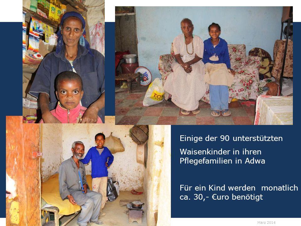 12 Spendenprojekt der Schülerarbeit für Äthiopien: Hilfe für Straßenkinder in Adwa Wolfgang Ilg / Fritz Leng März 2014 Einige der 90 unterstützten Waisenkinder in ihren Pflegefamilien in Adwa Für ein Kind werden monatlich ca.