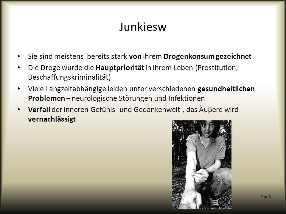 Junkiesw Sie sind meistens bereits stark von ihrem Drogenkonsum gezeichnet Die Droge wurde die Hauptpriorität in ihrem Leben (Prostitution, Beschaffun