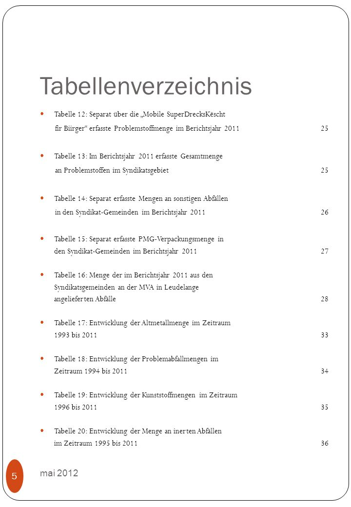 3.Mengenaufkommen in 2011 3.1 Separat erfasste Wert- und Schadstoffe Mai 2012 26 3.1.6Kunststoffe Im Berichtsjahr 2011wurden im Recyclingpark Kehlen 63.25 t Kunststoffe (1,94kg/Ew.