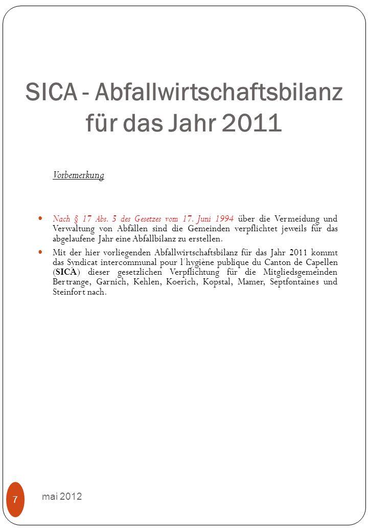 1.Allgemeines mai 2012 8 1.1 Öffentlichkeitsarbeit Im Berichtsjahr 2011 führte das Abfallwirtschaftssyndikat SICA die in der Folge aufgeführten Aktivitäten im Rahmen einer langfristig ausgelegten informativen und sensibilisierenden Öffentlichkeitsarbeit aus.