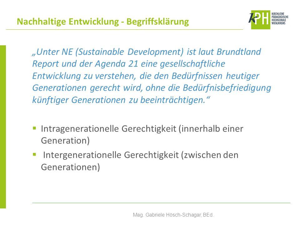 Unter NE (Sustainable Development) ist laut Brundtland Report und der Agenda 21 eine gesellschaftliche Entwicklung zu verstehen, die den Bedürfnissen