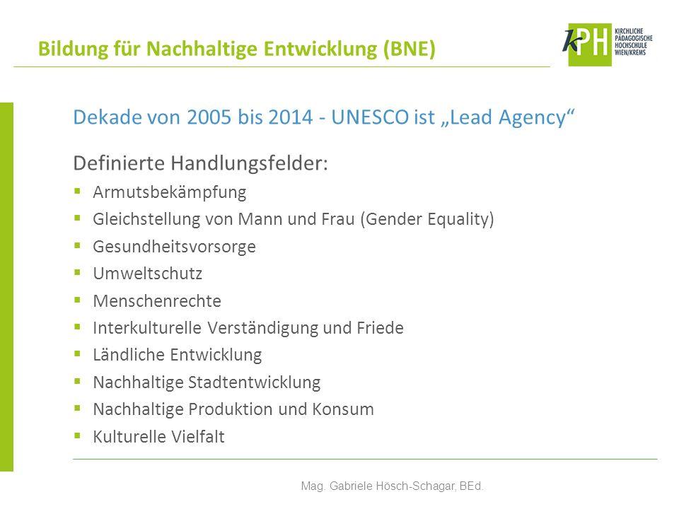 Dekade von 2005 bis 2014 - UNESCO ist Lead Agency Definierte Handlungsfelder: Armutsbekämpfung Gleichstellung von Mann und Frau (Gender Equality) Gesu