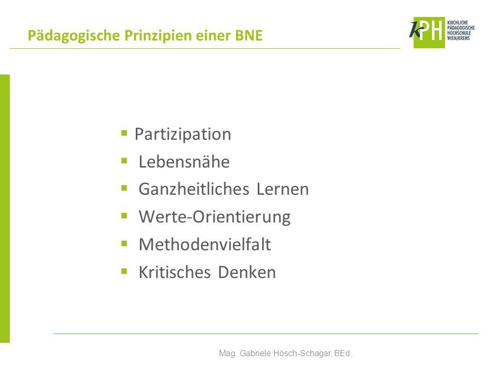Partizipation Lebensnähe Ganzheitliches Lernen Werte-Orientierung Methodenvielfalt Kritisches Denken Pädagogische Prinzipien einer BNE Mag. Gabriele H
