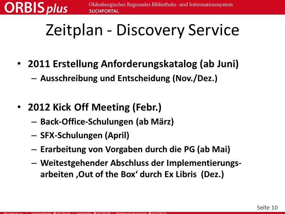 Seite 10 Zeitplan - Discovery Service 2011 Erstellung Anforderungskatalog (ab Juni) – Ausschreibung und Entscheidung (Nov./Dez.) 2012 Kick Off Meeting