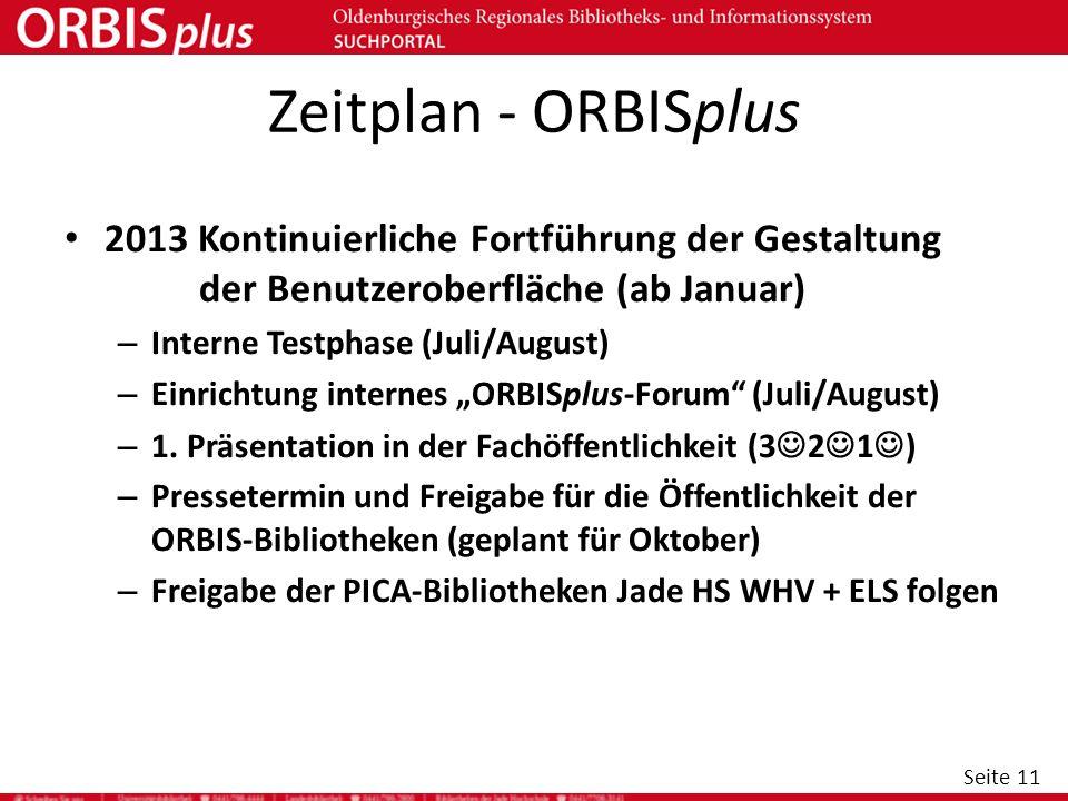 Seite 11 Zeitplan - ORBISplus 2013 Kontinuierliche Fortführung der Gestaltung der Benutzeroberfläche (ab Januar) – Interne Testphase (Juli/August) – E