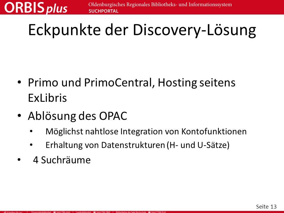 Seite 13 Eckpunkte der Discovery-Lösung Primo und PrimoCentral, Hosting seitens ExLibris Ablösung des OPAC Möglichst nahtlose Integration von Kontofun
