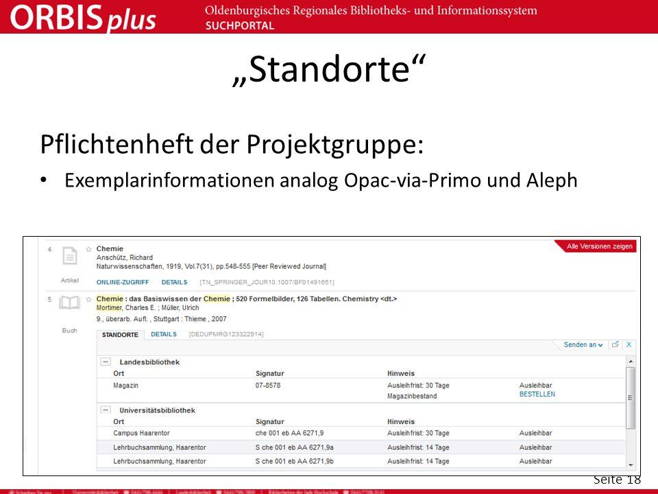 Seite 18 Standorte Pflichtenheft der Projektgruppe: Exemplarinformationen analog Opac-via-Primo und Aleph