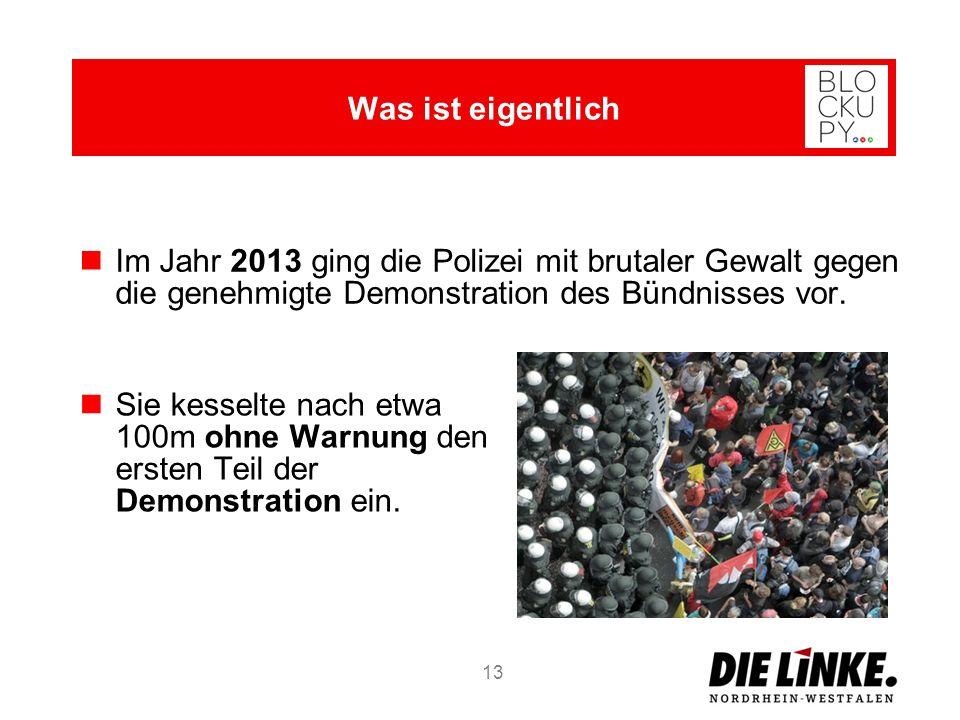 13 Im Jahr 2013 ging die Polizei mit brutaler Gewalt gegen die genehmigte Demonstration des Bündnisses vor.