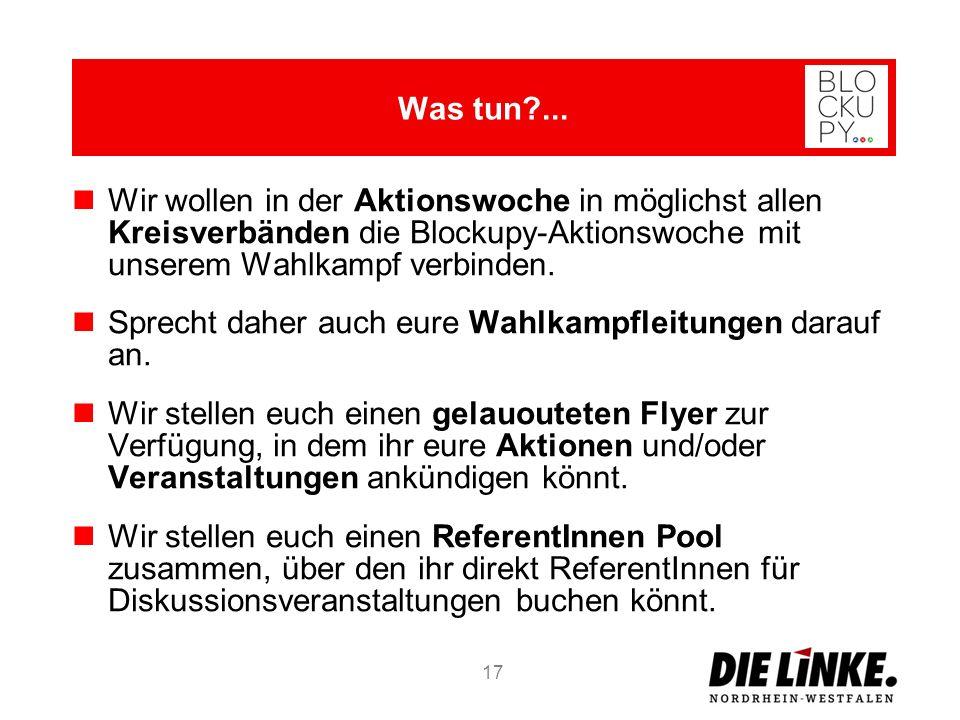 Wir wollen in der Aktionswoche in möglichst allen Kreisverbänden die Blockupy-Aktionswoche mit unserem Wahlkampf verbinden. Sprecht daher auch eure Wa