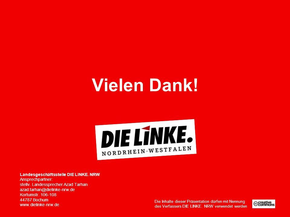 Vielen Dank. Landesgeschäftsstelle DIE LINKE. NRW Ansprechpartner: stellv.