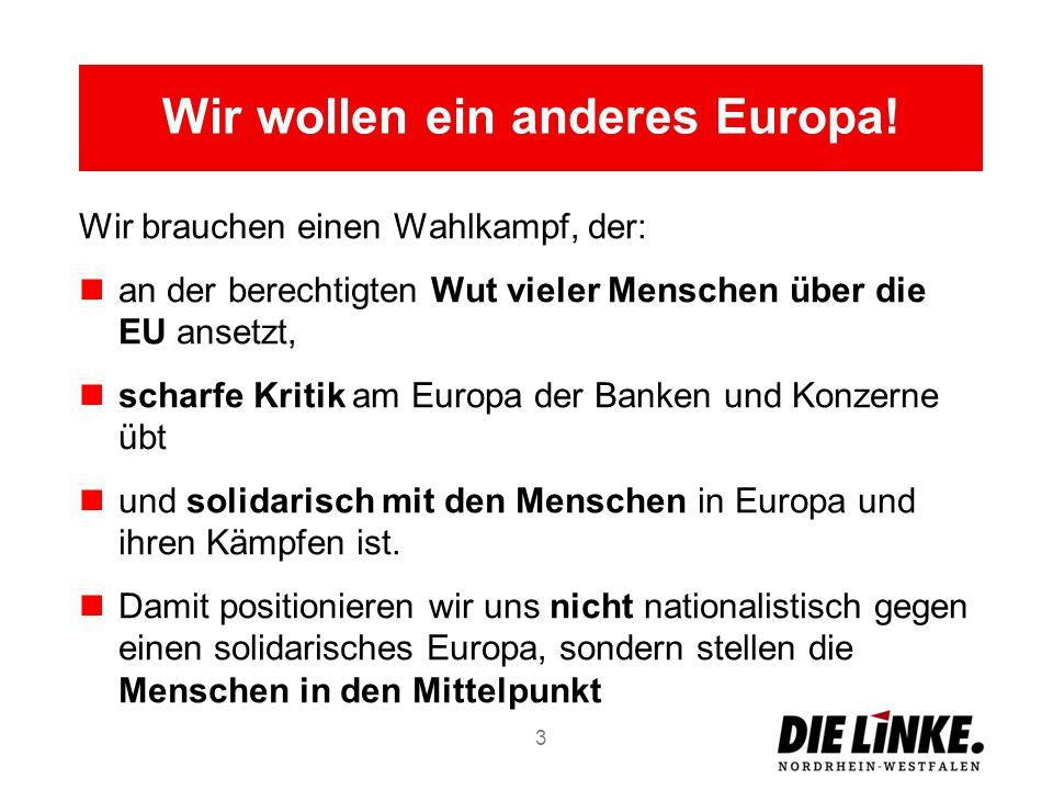 Wir brauchen einen Wahlkampf, der: an der berechtigten Wut vieler Menschen über die EU ansetzt, scharfe Kritik am Europa der Banken und Konzerne übt und solidarisch mit den Menschen in Europa und ihren Kämpfen ist.