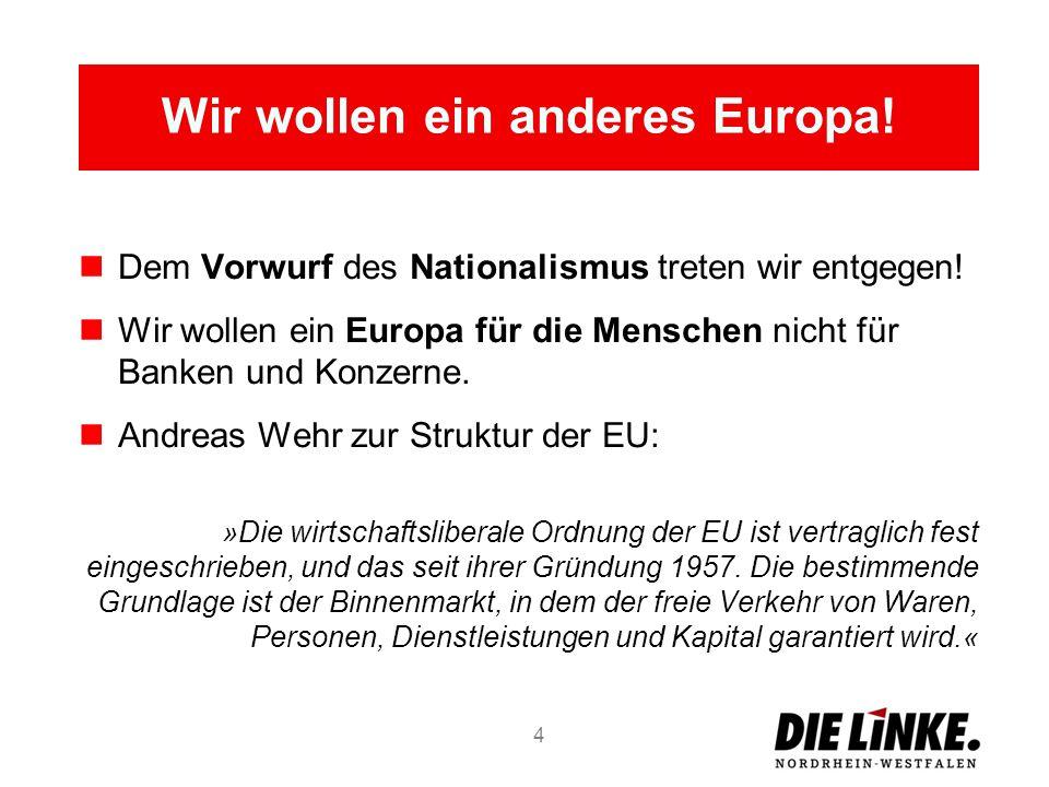 Dem Vorwurf des Nationalismus treten wir entgegen! Wir wollen ein Europa für die Menschen nicht für Banken und Konzerne. Andreas Wehr zur Struktur der