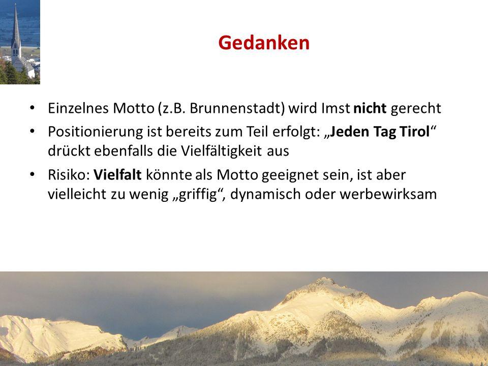 Einzelnes Motto (z.B. Brunnenstadt) wird Imst nicht gerecht Positionierung ist bereits zum Teil erfolgt: Jeden Tag Tirol drückt ebenfalls die Vielfält