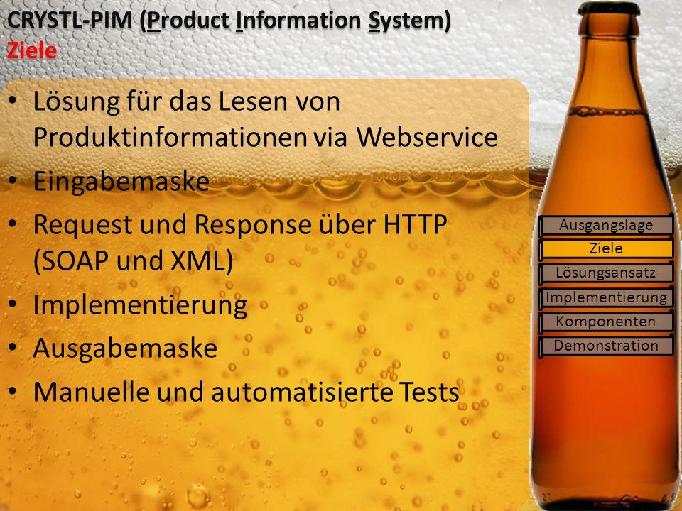 Ziele Lösungsansatz Implementierung Komponenten CRYSTL-PIM (Product Information System) Ziele Ausgangslage Lösung für das Lesen von Produktinformationen via Webservice Eingabemaske Request und Response über HTTP (SOAP und XML) Implementierung Ausgabemaske Manuelle und automatisierte Tests Demonstration