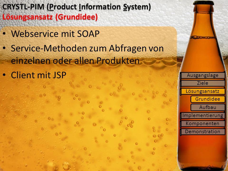 Ziele Lösungsansatz Implementierung Komponenten CRYSTL-PIM (Product Information System) Lösungsansatz (Grundidee) Ausgangslage Webservice mit SOAP Service-Methoden zum Abfragen von einzelnen oder allen Produkten Client mit JSP Demonstration Grundidee Aufbau