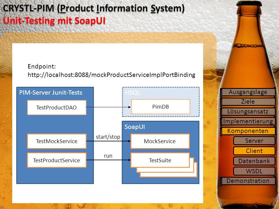 SoapUI TestSuite Ziele Lösungsansatz Implementierung Komponenten CRYSTL-PIM (Product Information System) Unit-Testing mit SoapUI Ausgangslage Demonstration Server Client Datenbank WSDL PIM-Server Junit-Tests TestProductDAO Endpoint: http://localhost:8088/mockProductServiceImplPortBinding MockService TestSuite TestMockService TestProductService start/stop run HSQL PimDB