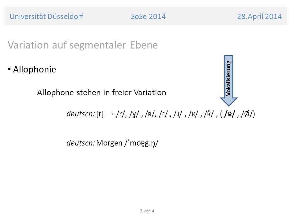 Universität Düsseldorf SoSe 2014 28.April 2014 Variation auf segmentaler Ebene Allophonie Allophone stehen in freier Variation deutsch: [r] /r/, /ɣ/,