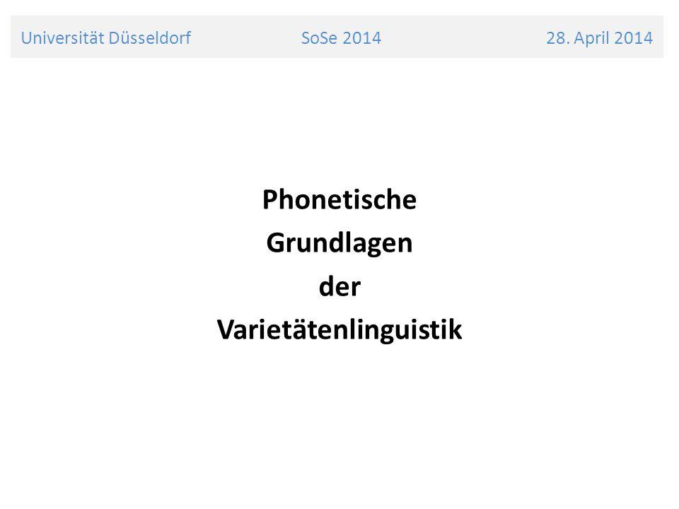 Universität Düsseldorf SoSe 2014 28.April 2014 Suprasegmentalia überlagern die segmentale Ebene und sind zeitlich nicht auf einzelne Segmente begrenzt Man unterscheidet dabei: 5 Quantität (Lautdauer) Intensität (Akzentuierung und Betonung) Intonation (Melodie)