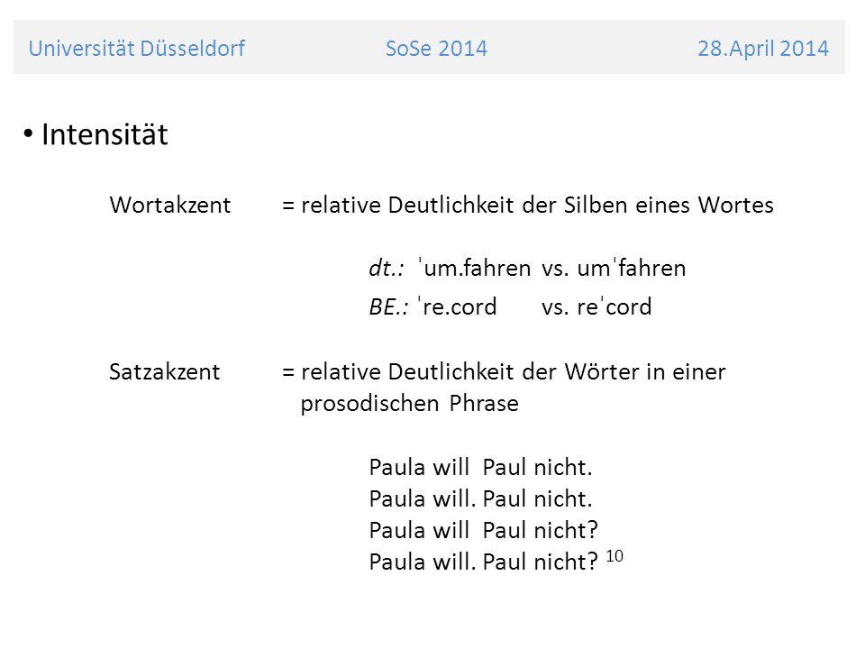 Universität Düsseldorf SoSe 2014 28.April 2014 Intensität Wortakzent = relative Deutlichkeit der Silben eines Wortes dt.: ˈum.fahren vs. umˈfahren BE.