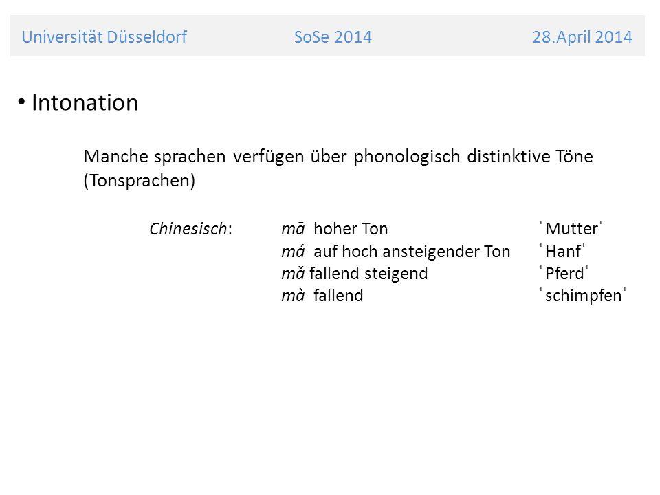 Universität Düsseldorf SoSe 2014 28.April 2014 Intonation Manche sprachen verfügen über phonologisch distinktive Töne (Tonsprachen) Chinesisch:mā hoh