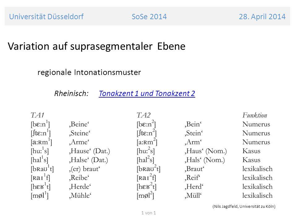 Universität Düsseldorf SoSe 2014 28. April 2014 Variation auf suprasegmentaler Ebene regionale Intonationsmuster Rheinisch: Tonakzent 1 und Tonakzent