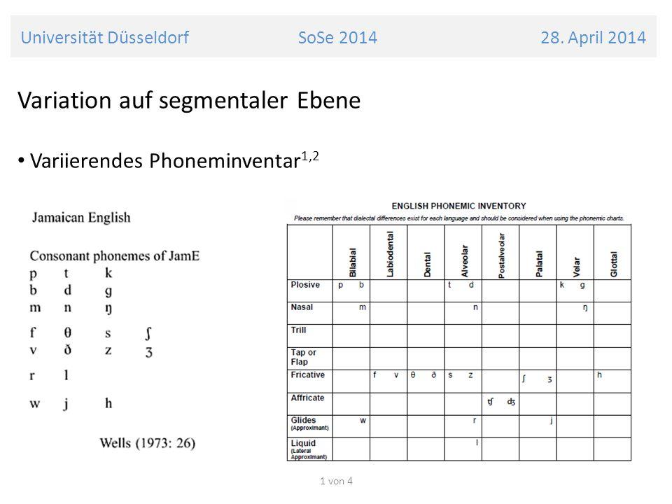Universität Düsseldorf SoSe 2014 28. April 2014 Variation auf segmentaler Ebene Variierendes Phoneminventar 1,2 1 von 4