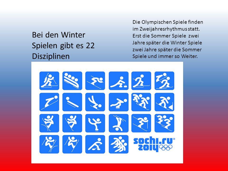 Die Olympischen Spiele finden im Zweijahresrhythmus statt. Erst die Sommer Spiele zwei Jahre später die Winter Spiele zwei Jahre später die Sommer Spi