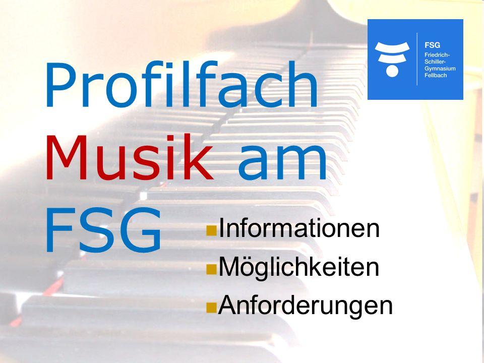 Profilfach Musik am FSG Informationen Möglichkeiten Anforderungen