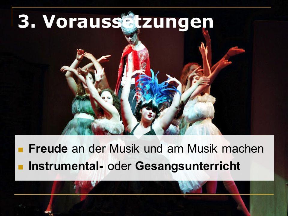 3. Voraussetzungen Freude an der Musik und am Musik machen Instrumental- oder Gesangsunterricht