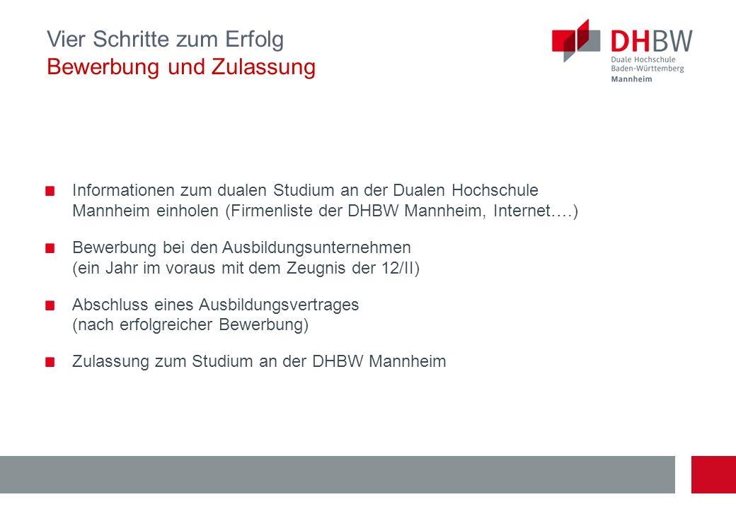 Informationen zum dualen Studium an der Dualen Hochschule Mannheim einholen (Firmenliste der DHBW Mannheim, Internet….) Bewerbung bei den Ausbildungsu