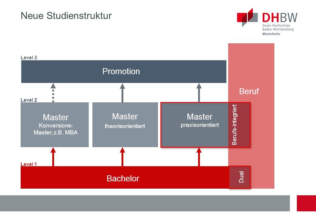 Bachelor Master theorieorientiert Master praxisorientiert Master Konversions- Master, z.B. MBA Promotion Level 3 Level 2 Level 1 Neue Studienstruktur