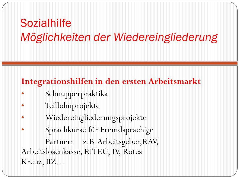 Sozialhilfe Möglichkeiten der Wiedereingliederung Integrationshilfen in den ersten Arbeitsmarkt Schnupperpraktika Teillohnprojekte Wiedereingliederungsprojekte Sprachkurse für Fremdsprachige Partner: z.B.