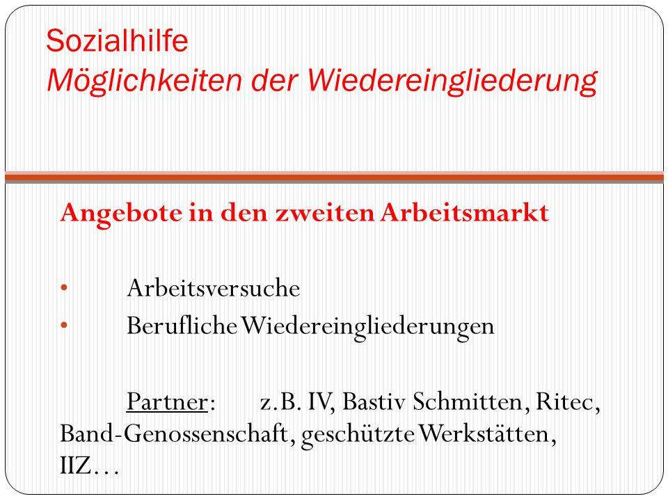 Sozialhilfe Möglichkeiten der Wiedereingliederung Angebote in den zweiten Arbeitsmarkt Arbeitsversuche Berufliche Wiedereingliederungen Partner: z.B.