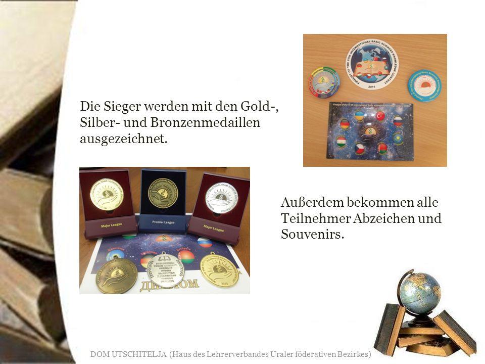Die Sieger werden mit den Gold-, Silber- und Bronzenmedaillen ausgezeichnet.