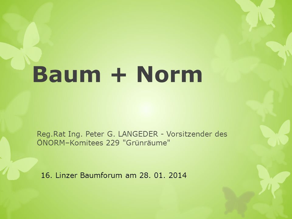Baum + Norm Reg.Rat Ing. Peter G. LANGEDER - Vorsitzender des ÖNORM–Komitees 229