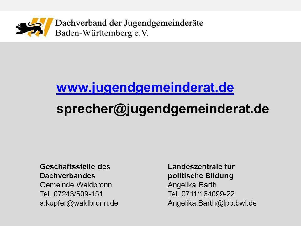www.jugendgemeinderat.de sprecher@jugendgemeinderat.de Geschäftsstelle des Dachverbandes Gemeinde Waldbronn Tel.