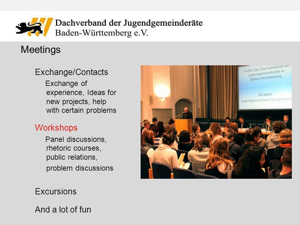 Exchange/Contacts Exchange of experience, Ideas for new projects, help with certain problems Workshops Panel discussions, rhetoric courses, public relations, problem discussions Excursions And a lot of fun Meetings