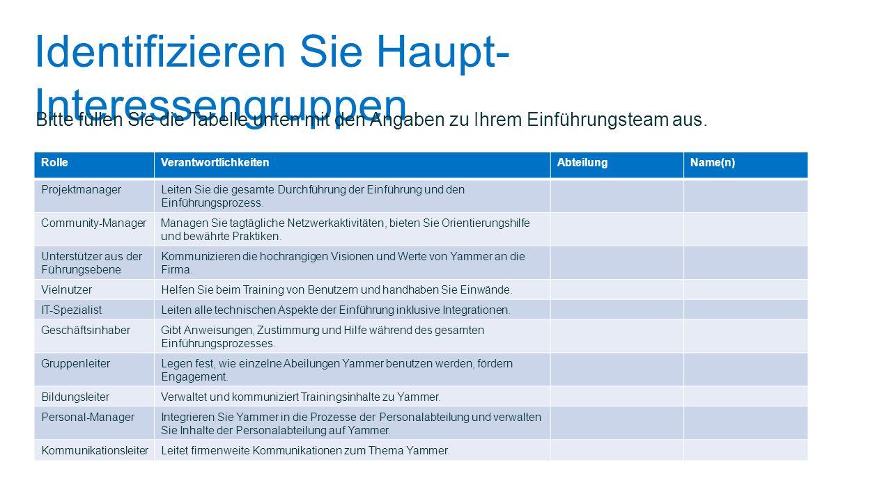 Identifizieren Sie Haupt- Interessengruppen Bitte füllen Sie die Tabelle unten mit den Angaben zu Ihrem Einführungsteam aus. RolleVerantwortlichkeiten