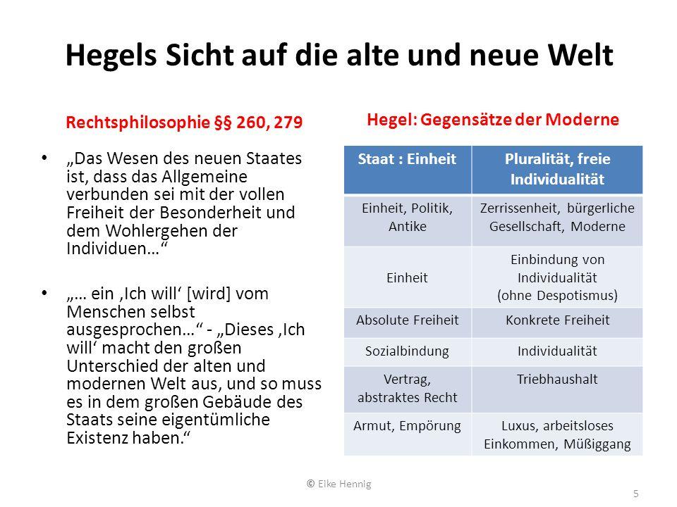 Hegels Sicht auf die alte und neue Welt Rechtsphilosophie §§ 260, 279 Das Wesen des neuen Staates ist, dass das Allgemeine verbunden sei mit der volle