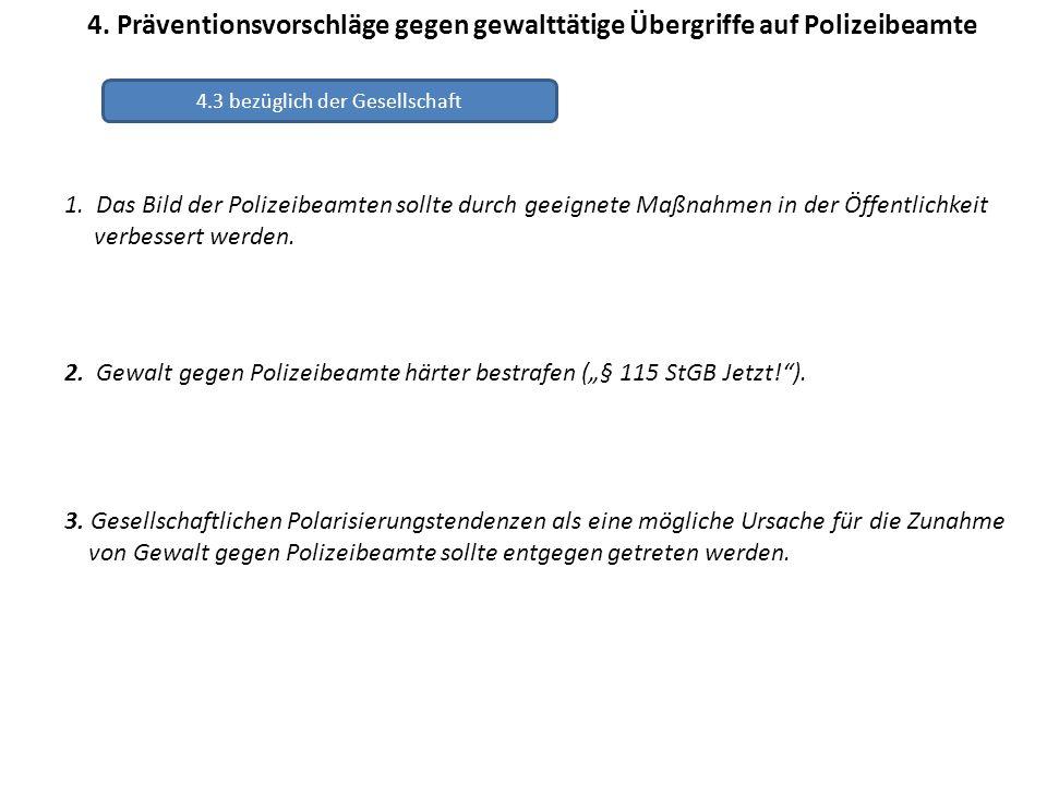4. Präventionsvorschläge gegen gewalttätige Übergriffe auf Polizeibeamte 1. Das Bild der Polizeibeamten sollte durch geeignete Maßnahmen in der Öffent