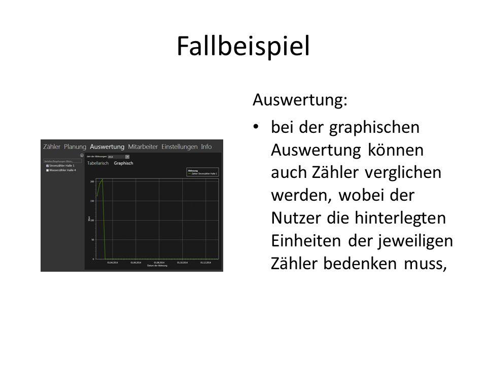 Fallbeispiel Auswertung: bei der graphischen Auswertung können auch Zähler verglichen werden, wobei der Nutzer die hinterlegten Einheiten der jeweilig