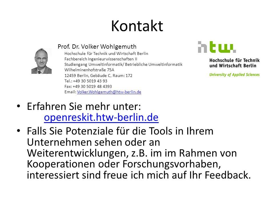 Kontakt Erfahren Sie mehr unter: openreskit.htw-berlin.de openreskit.htw-berlin.de Falls Sie Potenziale für die Tools in Ihrem Unternehmen sehen oder an Weiterentwicklungen, z.B.