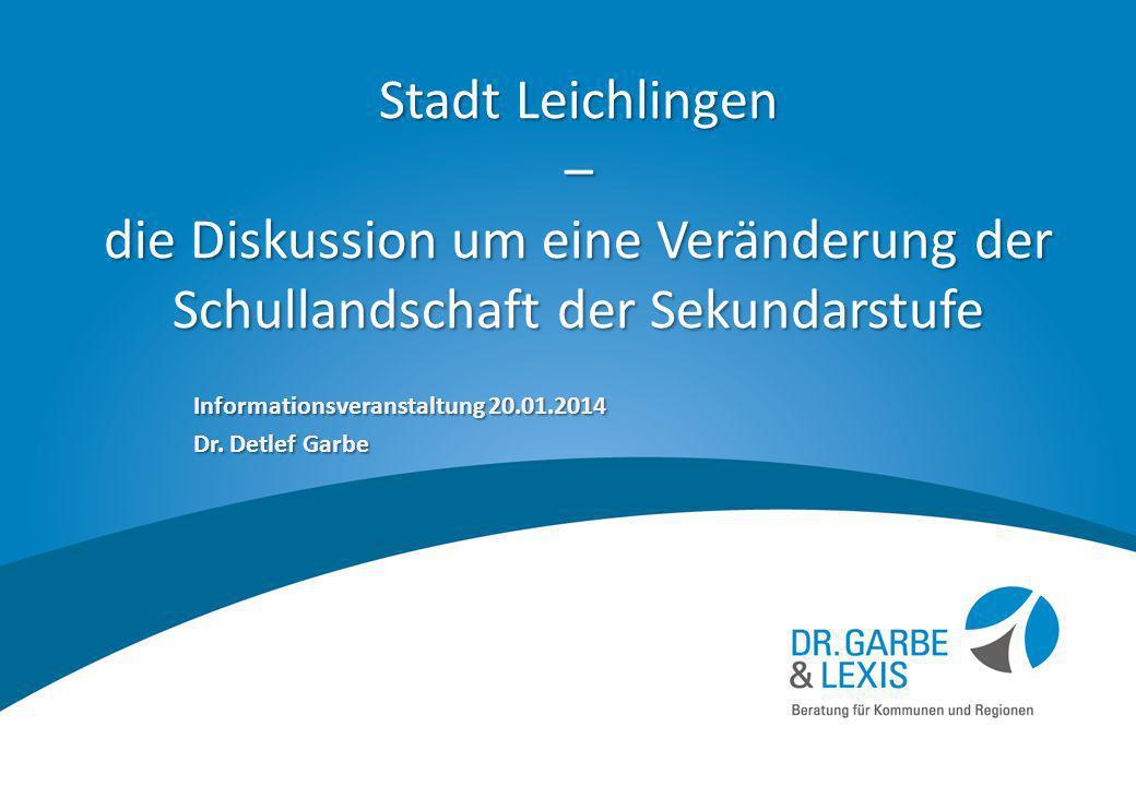 Stadt Leichlingen – die Diskussion um eine Veränderung der Schullandschaft der Sekundarstufe Informationsveranstaltung 20.01.2014 Dr. Detlef Garbe 1