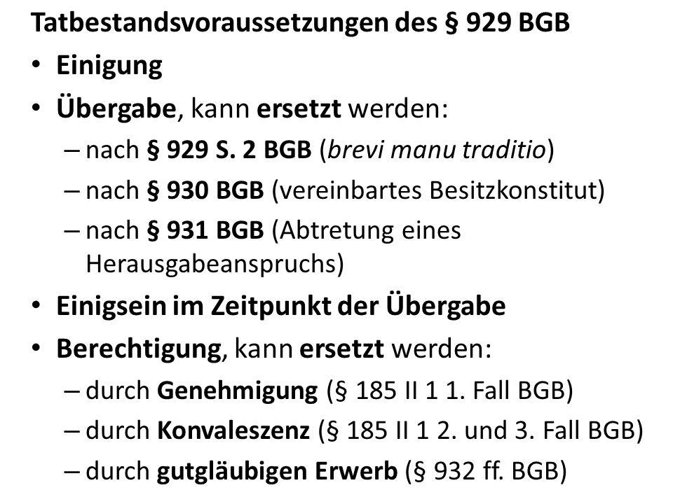 Tatbestandsvoraussetzungen des § 929 BGB Einigung Übergabe, kann ersetzt werden: – nach § 929 S. 2 BGB (brevi manu traditio) – nach § 930 BGB (vereinb