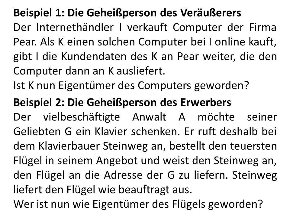Beispiel 1: Die Geheißperson des Veräußerers Der Internethändler I verkauft Computer der Firma Pear. Als K einen solchen Computer bei I online kauft,