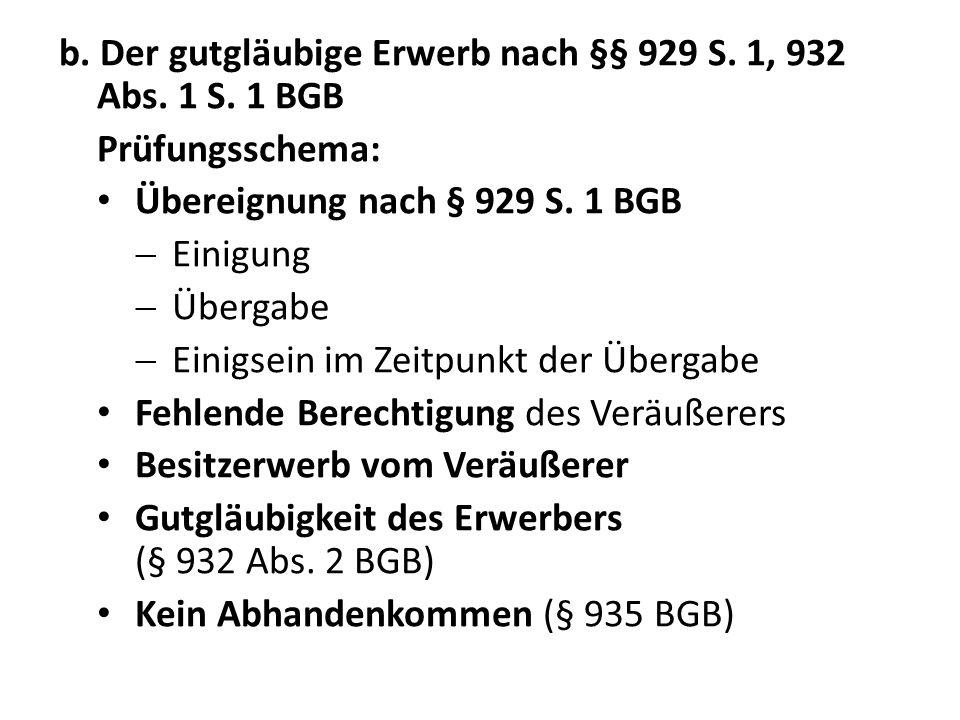 b. Der gutgläubige Erwerb nach §§ 929 S. 1, 932 Abs. 1 S. 1 BGB Prüfungsschema: Übereignung nach § 929 S. 1 BGB Einigung Übergabe Einigsein im Zeitpun