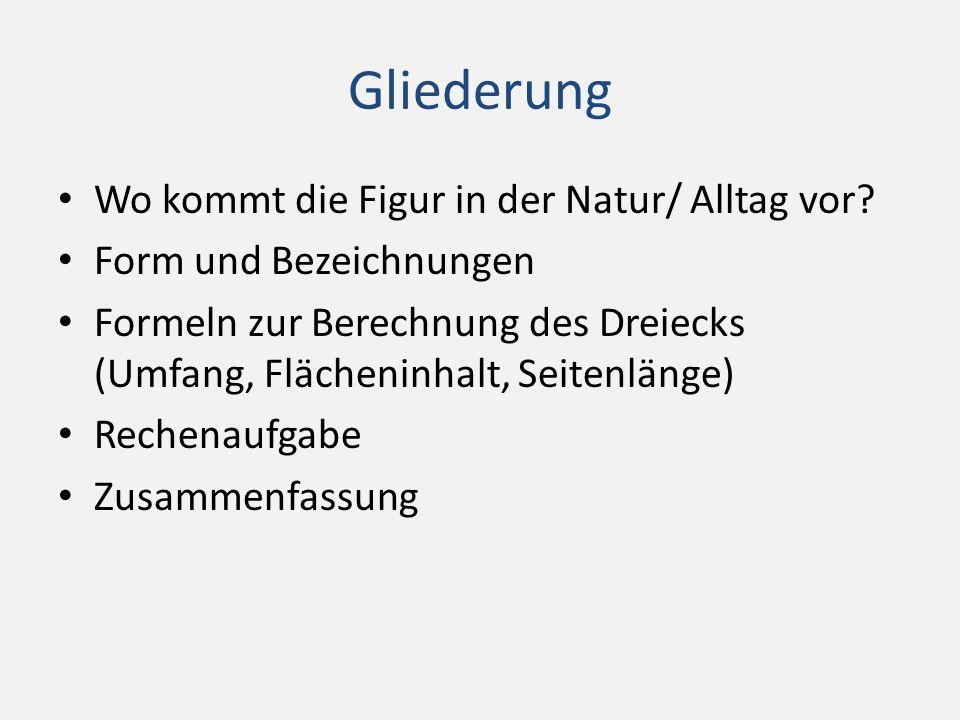 Das Dreieck in der Natur / Alltag Hausdach (Giebel) Kuchenstück Baugerüst Tische / Fenster Verkehrsschilder Geodreieck Usw…