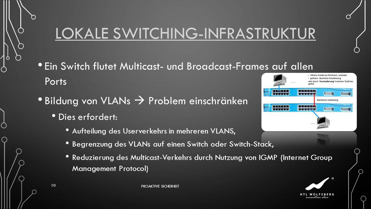 LOKALE SWITCHING-INFRASTRUKTUR Ein Switch flutet Multicast- und Broadcast-Frames auf allen Ports Bildung von VLANs Problem einschränken Dies erfordert