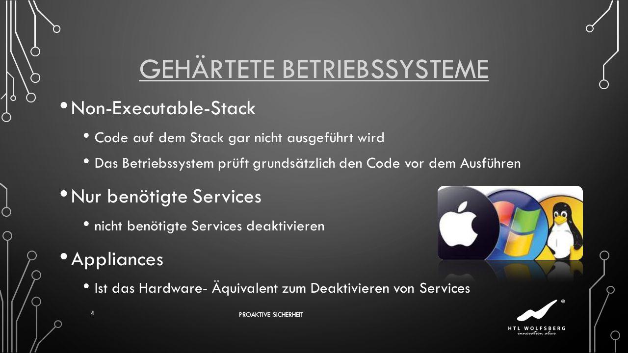 GEHÄRTETE BETRIEBSSYSTEME Non-Executable-Stack Code auf dem Stack gar nicht ausgeführt wird Das Betriebssystem prüft grundsätzlich den Code vor dem Au